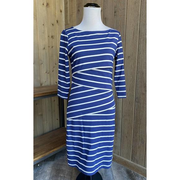 J. McLaughlin Dress Nicola Layered Navy Striped
